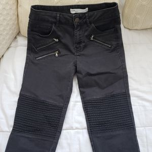 Zara Black Moto Skinny Jeans Zipper Detail
